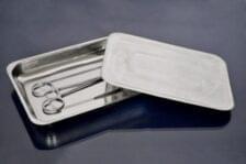 Лоток прямоугольный,400х300х45 мм,с крышкой,из нержавеющей стали